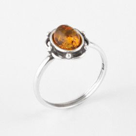 Sweet Floral Honey Amber Ring