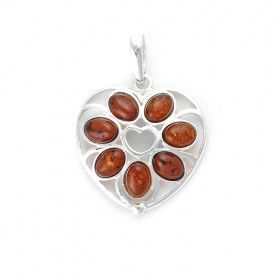 7 Stone Honey Amber Heart Pendant