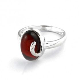 Oval with Silver Accent Cherry Amber Ring