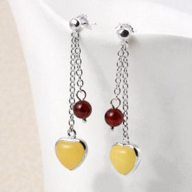 Butterscotch and Cherry Amber Heart Earrings