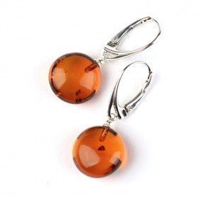 Honey and Silver Amber Drop Earrings