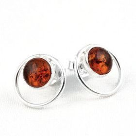 Honey Amber Circle Studded Earrings