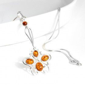 Floral Filigree Amber Silver Pendant