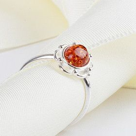 Dainty Honey Amber Ring