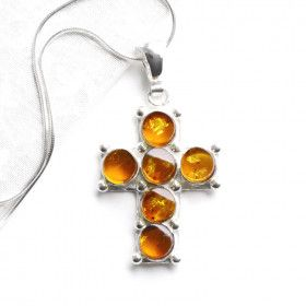 Six Stones of Honey Amber Cross Pendant