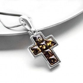 Green Amber Cross Pendant