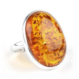 Honey Amber Bezel Ring