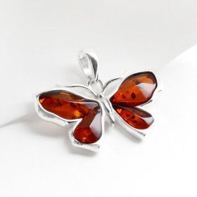 Butterfly Pendant - Honey Amber