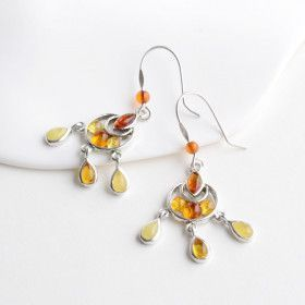Dangling Amber & Silver Earrings
