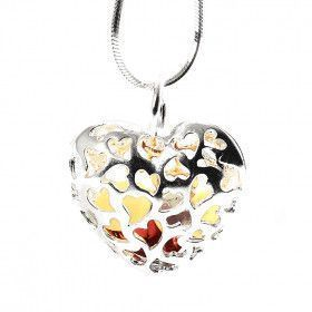 Amber Pieces in a Heart Pendant