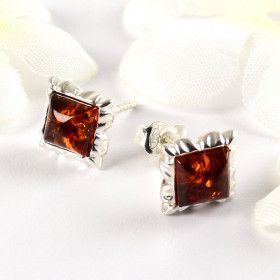 Amber Square - Stud Earrings