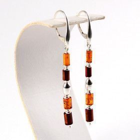 Simply Sleek Amber & Silver Earrings