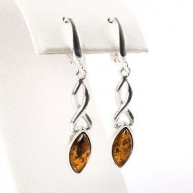 Silver Twist to Amber Earrings