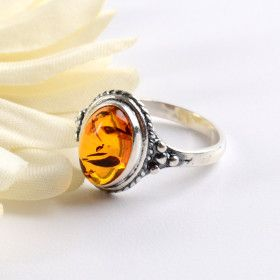 Lovely Amber & Silver Ring