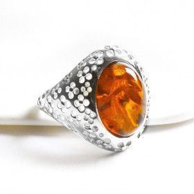 Silver & Amber Oval Ring