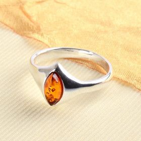 Simple Silver Ring with Amber