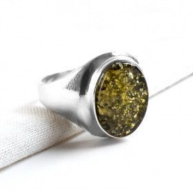 Bold Green Amber Oval Ring