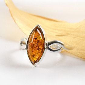 Honey Amber Slice in Silver Ring