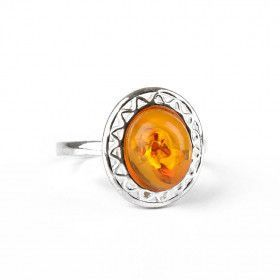 Amber Oval with Stylized Silver Ring
