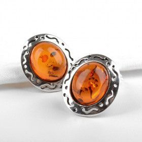 Amber & Silver Clip-On Earrings