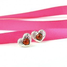 Dainty Hearts Amber Earrings