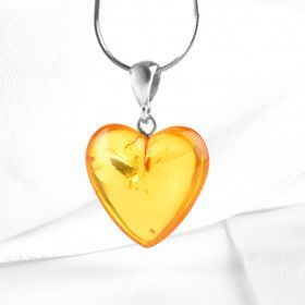 Genuine Citrine Amber Heart Pendant