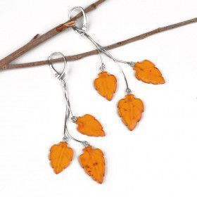 Honey Amber Leaves Earrings