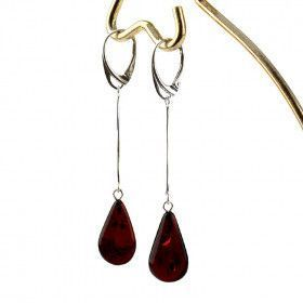 Sleek Cherry Amber Teardrop Earrings