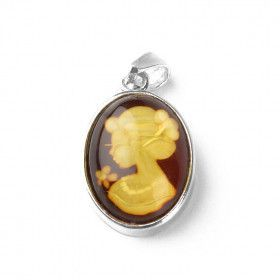 Small Carved Amber Lady Pendant