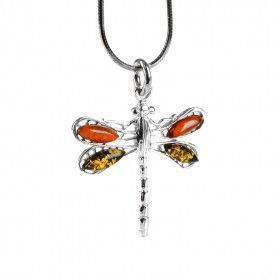 Green & Honey Amber Dragonfly Pendant