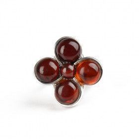 Large Cherry Amber Flower Ring