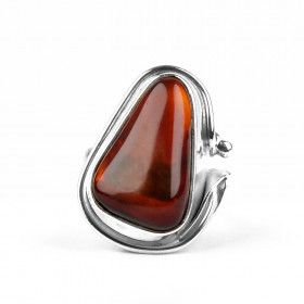 Cherry Amber & Sterling Silver Ring