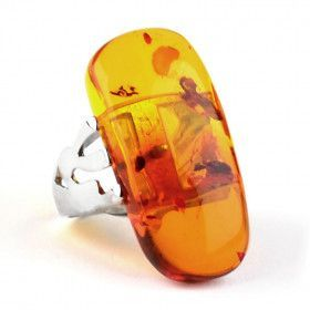 Unique Honey Amber / Silver Ring