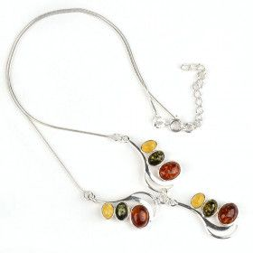 Three Stone Baltic Amber Necklace