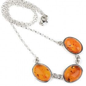 Classic Honey Amber Silver Necklace