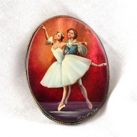 Russian Ballet Couple Brooch