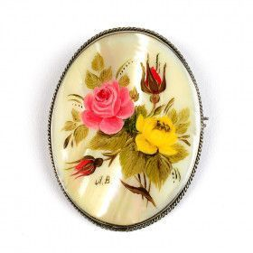 Floral Painted Mother of Pearl Brooch
