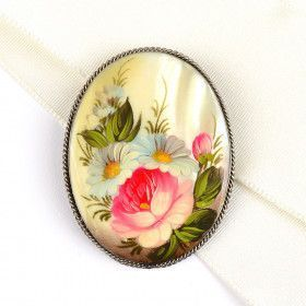 Mother of Pearl Brooch from Russia