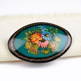 Painted Flowers Brooch Pin