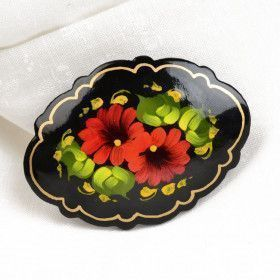 Red Floral Brooch Pin