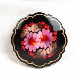 Russian Pink Floral Brooch