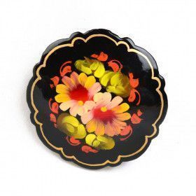 Floral Russian Wooden Brooch
