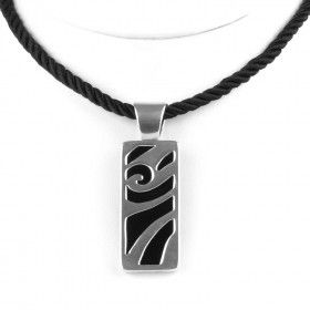 Black Onyx with Silver Scrolls Necklace