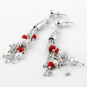 Liquid Silver and Coral Earrings