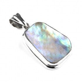Natural Abalone Silver Pendant
