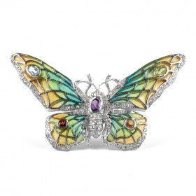 Gemstones Silver Butterfly Brooch