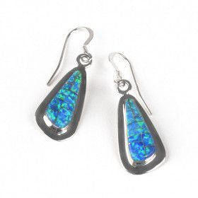 Elegant Blue Opal & Silver Earrings