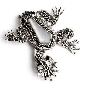 Marcasite Silver Prince Frog Pin