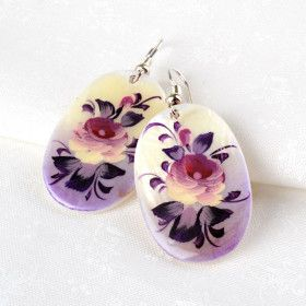 Floral Mother of Pearl Hook Earrings