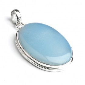 Large Blue Chalcedony Silver Pendant